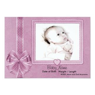 Invitación rosada del bebé del pedazo invitación 12,7 x 17,8 cm