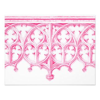 Invitación rosada del boda de la catedral