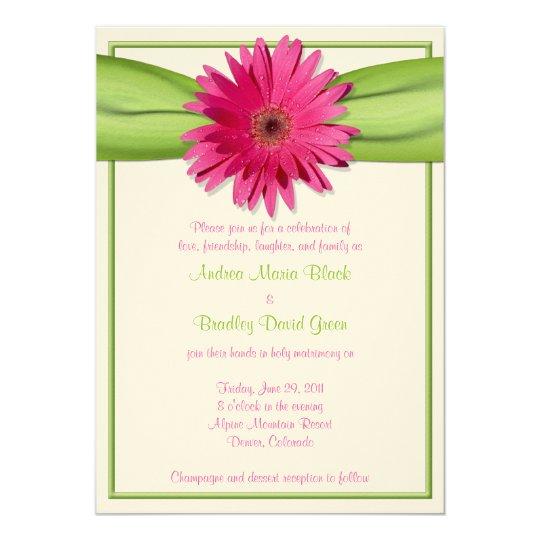 Invitación rosada del boda de la cinta del verde