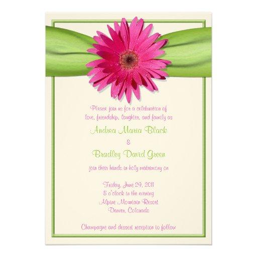 Invitación rosada del boda de la cinta del verde d