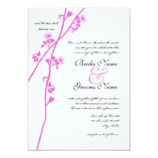 Invitación rosada del boda de la rama de la flor