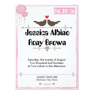 Invitación rosada del boda de los pájaros simples