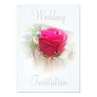 Invitación rosada del boda del capullo de rosa