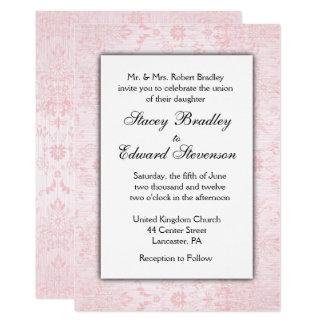 Invitación rosada del boda del damasco
