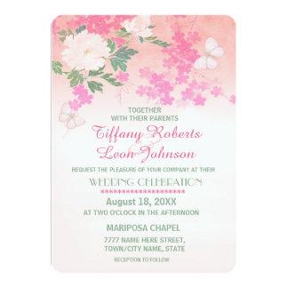 Invitación rosada del boda del jardín del Peony