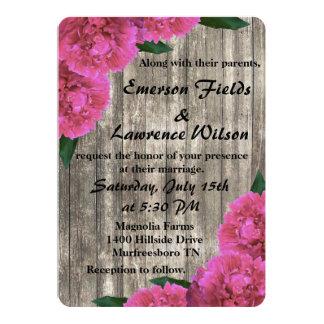 Invitación rosada del boda del Peony