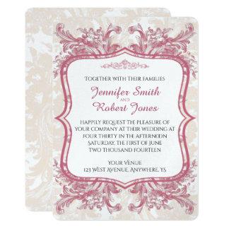 Invitación rosada del boda del Peony del vintage
