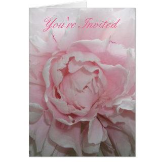 Invitación rosada del boda del Peony Tarjeta Pequeña