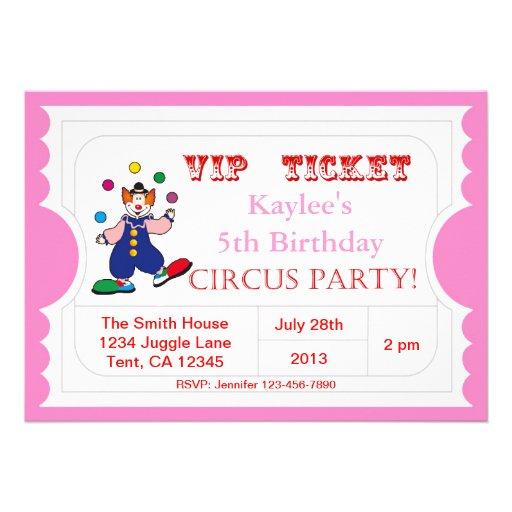 Invitación rosada del boleto del circo