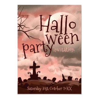 Invitación rosada del cementerio de Halloween del