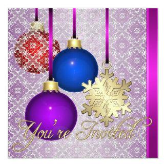 Invitación rosada del copo de nieve del cordón de invitación 13,3 cm x 13,3cm
