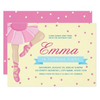 Invitación rosada del cumpleaños de la bailarina