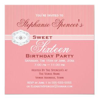 Invitación rosada del cumpleaños de la joya del