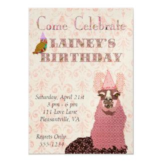 Invitación rosada del cumpleaños de la llama invitación 12,7 x 17,8 cm