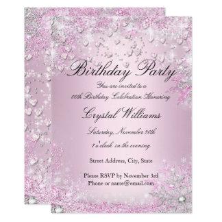 Tarjeta Invitación rosada del cumpleaños de los corazones