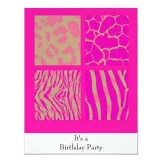 Invitación rosada del cumpleaños de los estampados