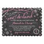 Invitación rosada del cumpleaños de ONEderland del