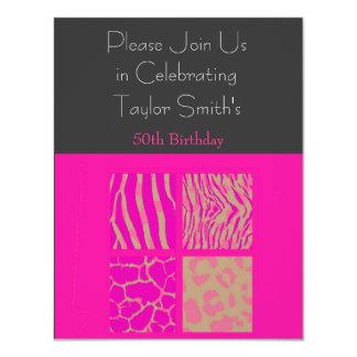 Invitación rosada del cumpleaños del estampado de