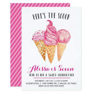 Invitación rosada del cumpleaños del helado