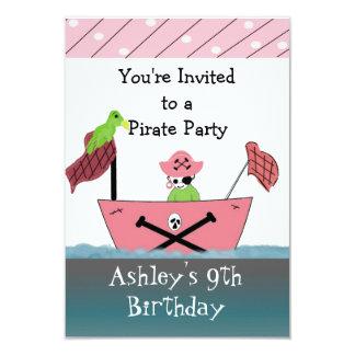 Invitación rosada del cumpleaños del pirata