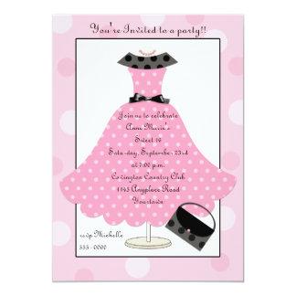 invitación rosada del cumpleaños del vestido de
