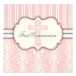Invitación rosada del damasco de la primera comuni