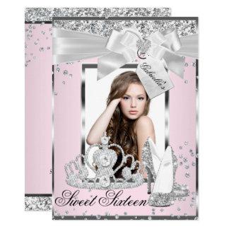 Tarjeta Invitación rosada del dulce 16 de la foto de la