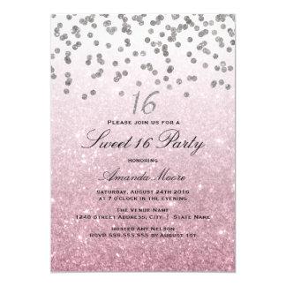 Invitación rosada del dulce 16 del confeti del