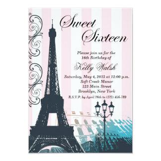Invitación rosada del dulce dieciséis de París de