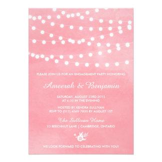 Invitación rosada del fiesta de compromiso de las
