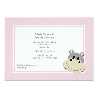 Invitación rosada del hipopótamo