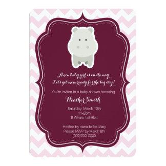 Invitación rosada del hipopótamo de la niña