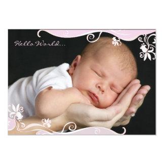 Invitación rosada del nacimiento de la foto de la
