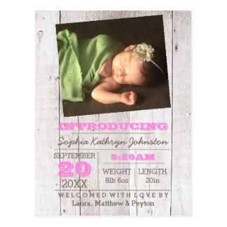 Invitación rosada del nacimiento de la foto de la postal
