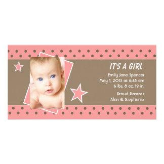 Invitación rosada del nacimiento de la foto de la  tarjeta fotográfica personalizada
