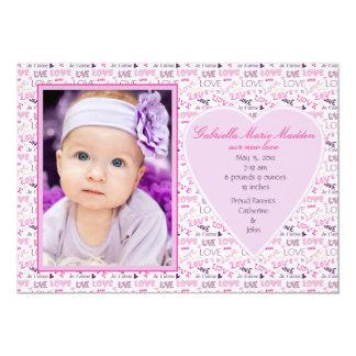 Invitación rosada del nacimiento de la foto del