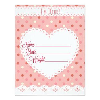 Invitación rosada del nacimiento para una niña
