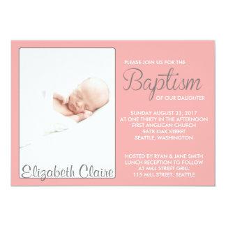 Invitación rosada dulce del bautismo del chica