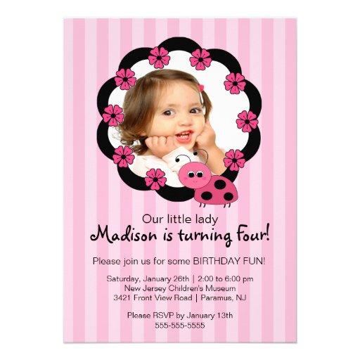 Invitación rosada dulce del cumpleaños de la foto