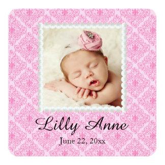 Invitación rosada dulce del nacimiento de la niña