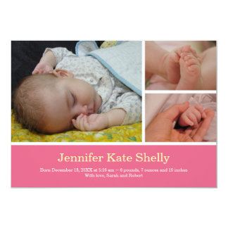 Invitación rosada dulce del nacimiento del bebé de invitación 12,7 x 17,8 cm