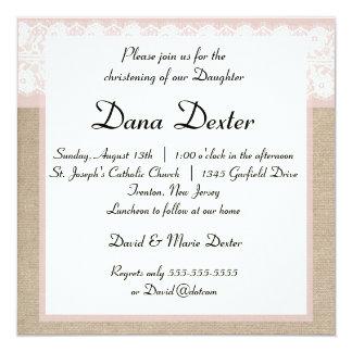 Invitación rosada elegante del bautismo del cordón