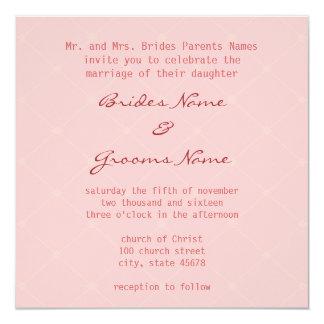 Invitación rosada elegante del boda