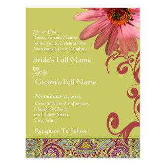 Invitación rosada elegante del boda de ConeFlower