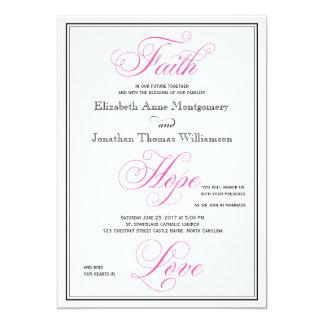 Invitación rosada elegante del boda del amor de la