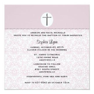 Invitación rosada elegante del damasco