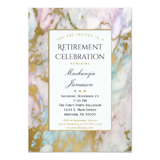 Invitación rosada elegante del retiro del mármol