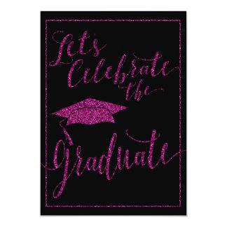 Invitación rosada glamorosa de la graduación de la