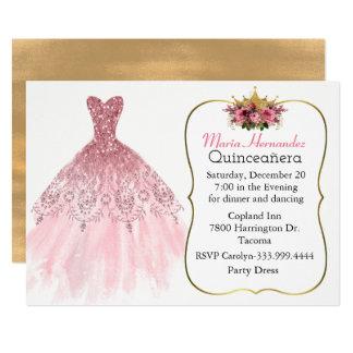 Invitación rosada glamorosa de Quinceañera del
