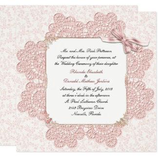 Invitación rosada lamentable del boda del estilo